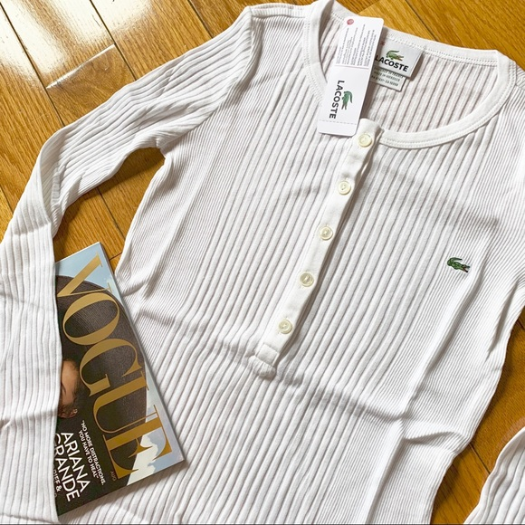 Lacoste Tops - Lacoste NEW W TAGS White Long Sleeve Henley NEW 💥